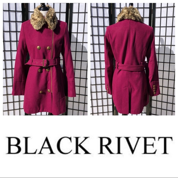 1ece1aa13166a Black Rivet Jackets   Blazers - 💘Black Rivet Pink Wool DoubleBreasted Fur  Peacoat